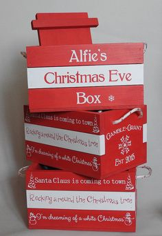red and white crate by MikesFineDesigns on Etsy Christmas Eve Crate, Wooden Christmas Crafts, Family Christmas Ornaments, Mother Christmas Gifts, Christmas Eve Box, Babies First Christmas, Personalized Christmas Ornaments, Christmas Mugs, Christmas Traditions