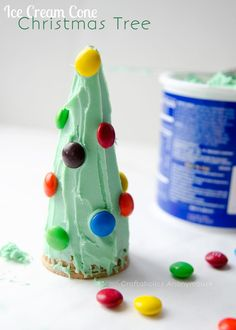 Christmas craft for kids - ice cream cone christmas trees. Fun to make AND eat!