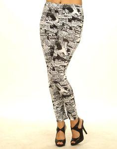 Newspaper Print Black And White Leggings- ChiaraFashion