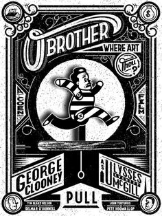 O BROTHER, WHERE ART THOU? (2000) The choice of the old-time woodcut style is a wonderful touch, both reflecting the movie's time period and populist sentiment. And I love the the cartoon toy George Clooney with the pull string - his character as fate's puppet. Run little guy, run.