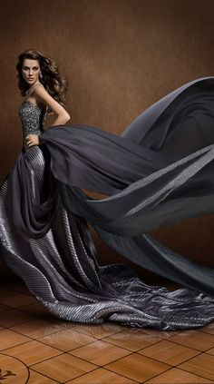 Gorgeous flowing grey gown