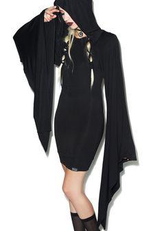 Steampunk Dress Long Sleeve Hooded Black Vintage Noir Robe Rockabilly Dresses Punk