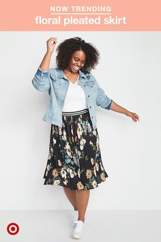 Florals have made the shift from spring style to total fall trend, and this plus midi skirt from Ava & Viv is the perfect way to work them into your wardrobe. The midi length is great because you can wear the skirt wherever it best defines your waist. We love the contrasting sporty waistband, too! Wear it with your favorite sneakers, a classic white tee and a denim jacket to play up your casual style.