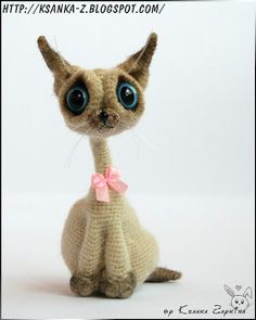 "Вязаные игрушки Зайкиной Ксюшки: Вязаная кошка ""Сиамочка"""