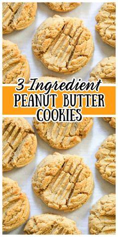 3 Ingredient Peanut Butter Cookies 3 Ingredient Cookies, Dairy Free Cookies, Best Appetizers, Vegan, Yummy Food, Fun Food, Delicious Recipes, Peanut Butter Cookies, 3 Ingredients