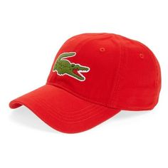 Men's Lacoste 'Big Croc' Logo Embroidered Cap ($40) ❤ liked on Polyvore featuring men's fashion, men's accessories, men's hats, red, mens caps and hats, mens hats, mens red hats and mens caps