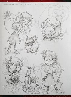 Another Don't Starve sketch page! DS is a fantastic fun game. Wendy and Abigail this time - Chester loving being pet - with a baby Beefalo thrown in for good measure. More Sketches for - Wilson Piece and Sketch Page and Willow and Chester rzomchek.tumblr.com