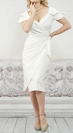 Simple Casual V Neck Knee Length Wedding Dress For Older Brides Over 40