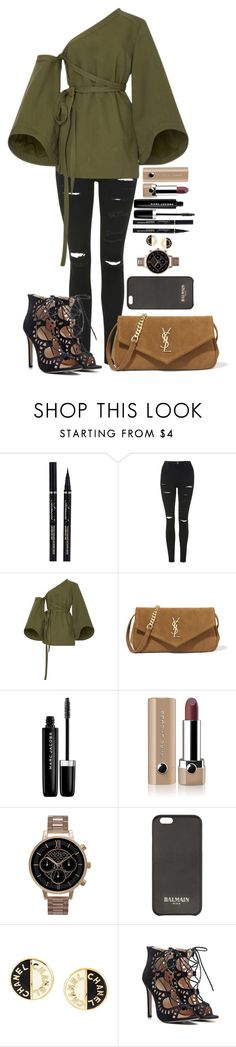 """""""Untitled #1470"""" by fabianarveloc on Polyvore featuring Topshop, Rosie Assoulin, Yves Saint Laurent, Marc Jacobs, Olivia Burton, Balmain and Chanel"""