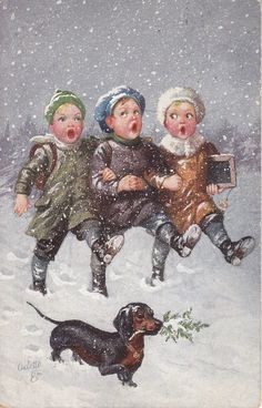 three boys march arm in arm front/right in snow, dachshund front left with mistletoe twig in mouth