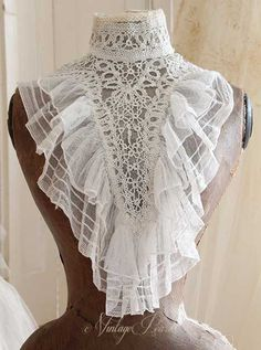 Antique Lace, Vintage Lace, Vintage Dresses, Vintage Outfits, Victorian Collar, Victorian Fashion, Vintage Fashion, Lace Collar, Collar And Cuff