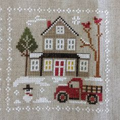 Block 3 is done! Looking forward to block Cross Stitch House, Cross Stitch Needles, Beaded Cross Stitch, Cross Stitch Embroidery, Cross Stitch Christmas Ornaments, Christmas Embroidery, Christmas Cross, Quilt Stitching, Cross Stitching