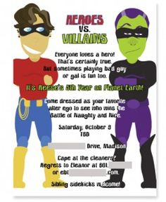 Free superhero invitation maker invitation pinterest really awesome ideas for a super herovillain party stopboris Image collections