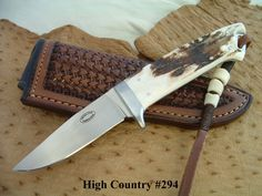 """Carlton Evans Handmade Custom Knives : The High Country : Serial Number 294 Blade Length 3.20"""" Overall Length 7.30"""" Blade: 154CPM  Guard: 416 Stainless  Handle: Sambar Stag"""