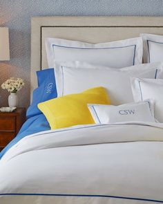 Crafted From Egyptian Cotton Percale This Elegant Duvet Is Designed With Contrast French Blue Taping Palmer Bedding