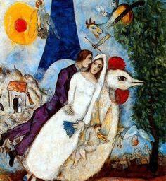 마르크 샤갈(Marc Chagall)의 에펠탑의 신랑신부(Les maries de la Tour Eiffel) / 1938년 / 조르주 퐁피두센터 소장 에펠탑을 전경으로 붕 뜬 채 하늘을 나는 듯한 신랑 신부의 모습을 통해, 이제 막 결혼을 한 듯한 둘의 로맨스와 초현실주의적인 사랑을 보여주고 있다.