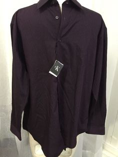 Calvin Klein Slim Fit Purple Black Striped Men's Dress Shirt Size XL New | eBay