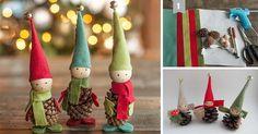 Škriatkovia zo šišiek a plsti - filcu. Kreatívny DIY nápad a návod ako si vyrobiť roztomilé vianočné ozdoby a dekorácie na stromček a zvládnu to aj deti