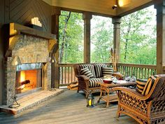 Outdoor Retreat The fireplace surrounded by the rugged texture of antiqued brick makes this porch inviting when the weather is chilly. Outdoor Retreat, Outdoor Rooms, Outdoor Living, Outdoor Decor, Outdoor Ideas, Outdoor Kitchens, Gazebo, Porch Fireplace, Backyard Fireplace