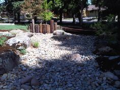 Dry Creek Bed.  Looks most natural with a few bigger rocks randomly placed