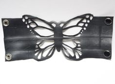 Behold the 'Flutterby Cuff' from Tread & Pedals. This butterfly cuff is handcrafted from a recycled bicycle inner tube. Bicycle inner tubes are super soft on the skin, flexible and waterproof.