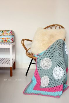 Crochet blanket & vintage doilies by idalifestyle on Etsy