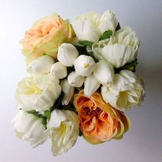 We can't get enough of these blooms, they look and feel so real. Real touch peonies and tulips from Afloral.com #fauxflowers
