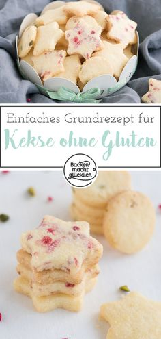 Einfache glutenfreie Kekse Basic recipe for quick biscuits without gluten, which are wonderfully crumbly. The gluten-free butter cookies are perfect for cutting out. The simple biscuits without gluten also taste without sugar.