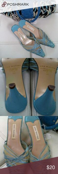 1pr Sky Blue leather strapless shoes 1pr Sky Blue leather strapless shoes by Ann Marino, 2 1/2 inch heel lightly worn. Ann Marino Shoes Slippers
