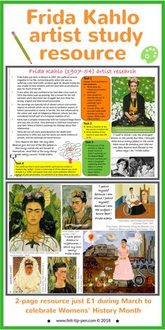 Celebrate #IWD with a fantastic artist resource on Frida Kahlo for just £1. Students complete a comprehension task about the artists and a practical activity responding to their work. #artteacher #resources #arthistory - www.felt-tip-pen.com