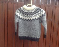 Made to order. Icelandic sweater, for 6 8 10 12 year old, unisex, sweater… Baby Sweaters, Wool Sweaters, Fashion Art, Icelandic Sweaters, Sweater Making, Handmade Shop, Handmade Gifts, Pulls, Hand Knitting