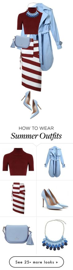 """Collection Of Summer Styles    """"Stripe skirt"""" by sagramora on Polyvore featuring N°21, Glamorous, Chicnova Fashion, Kate Spade and Gianvito Rossi    - #Outfits"""