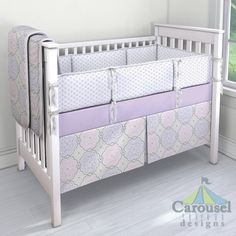 For all of those purple lovers!  Crib bedding in Solid Lilac, Lilac Chelsea, French Gray Lyon, Lilac and Pink Nyle. Created using the Nursery Designer® by Carousel Designs where you mix and match from hundreds of fabrics to create your own unique baby bedding. #carouseldesigns #babygirl