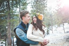 Bohemian Engagement Session || Evergreen Colorado || Flower crown || Pine Trees || wearemattandjess.com