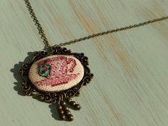 Dusty pink teacup cross stitch pendant on bronze frame, cross stitch jewelry Dusty Pink, Teacup, Custom Design, Cross Stitch, Vintage Fashion, Take That, Bronze, Pendant Necklace, Chain