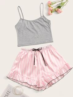 Shop Cami Top With Satin Striped Shorts PJ Set at ROMWE, discover more fashion styles online. Cute Pajama Sets, Cute Pjs, Cute Pajamas, Pj Sets, Pyjama Sets, Teen Fashion Outfits, Look Fashion, Girl Outfits, Gothic Fashion