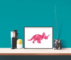 SALE Printable Wall Art Watercolor Animal Dinosaur por MyNameIsMir