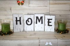 HOME- LOVE- FAMILY- Rustic Block Letter Sign- Rustic Country Home Decor- Farmhouse Shelf Letters- Shabby Chic<br> Love Shelf, Wood Wall Shelf, Wall Shelves, Wood Craft Supplies, Rustic Letters, Rustic Wood Walls, Diy Wood Signs, Frame Crafts, Block Lettering