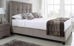 5ft King Size Kaydian Walkworth Mink Ottoman Fabric Bed Frame + Mattress Options