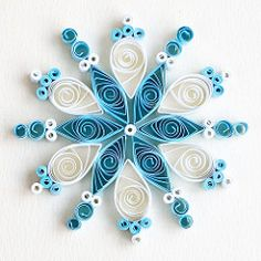 6 point turquoise and white quilled snowflake | Flickr - Photo Sharing!