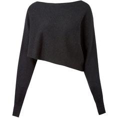 Crea Concept Black Asymmetric Crop Alpaca-Blend Jumper found on Polyvore featuring tops, sweaters, black long sleeve sweater, alpaca sweaters, anchor sweater, black cropped sweater and black sweater