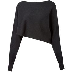 Crea Concept Black Asymmetric Crop Alpaca-Blend Jumper (€190) ❤ liked on Polyvore featuring tops, sweaters, shirts, anchor shirt, long sleeve shirts, black sweater, asymmetrical shirt and black shirt