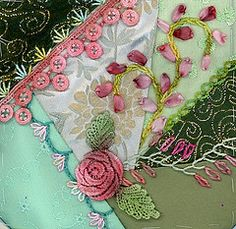 crazy quilting by Pamela Kellogg