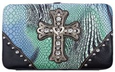 Turquoise Blue Green Zebra Stripes Cross Rhinestone Flat Wallet Private Label. $13.92