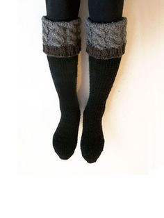 These socks are knitted toe-up on a magic loop with an aran-weight sock yarn. For your own sake make two at a time (!)