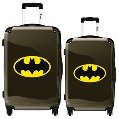 IKASE BATMAN YELLOW 2 PC Set ($238) ❤ liked on Polyvore featuring bags, luggage, batman, accessories and black