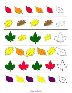 patterning worksheet What color comes next? Finish the leaf pattern - Worksheet from . Preschool Workbooks, Fall Preschool Activities, Preschool Learning, Kindergarten Worksheets, In Kindergarten, Preschool Crafts, Teaching, Maternelle Grande Section, Math Patterns
