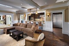 Dark Stained Wood Floor Living Room Design Ideas, Pictures, Remodel and Decor