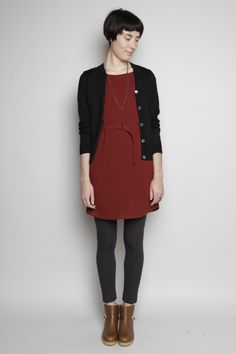 A.P.C. Belted Crepe Dress (Dark Red)...not those boots
