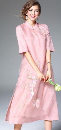 Pink Silk Floral Embroidery Side Slit Keyhole Neck Half Sleeve Midi Dress